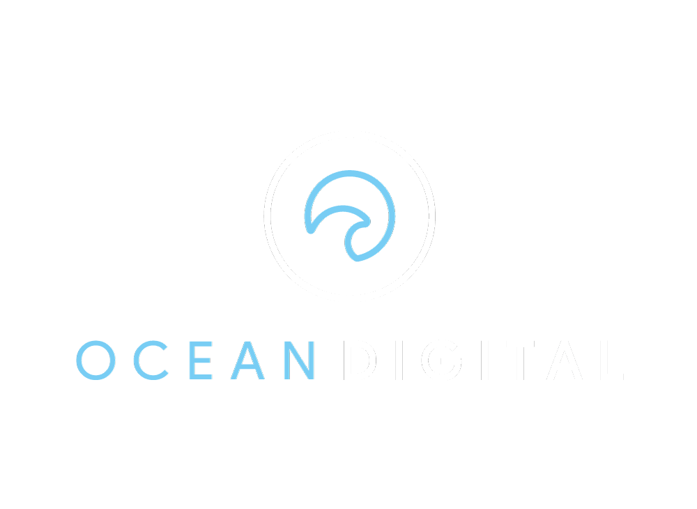 ocean logo full white and blue